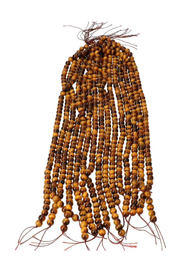Tijgeroog kralen 8 mm, streng 40 cm, circa 48 kralen