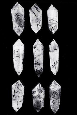 Zwarte Toermalijnkwarts dubbelpunten, Toermalijnkwarts Dubbeleinder, rutielkwarts, dubbelpunt, rutielkwarts dubbelpunt, dubbeleinder, dubbel einde, punt, kopen, rutiel, bergkristal, toermalijnkwarts
