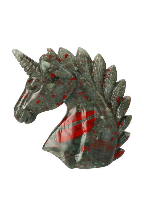Webstuk, Bloedsteen  eenhoorn, 13.5 cm, 555 gram