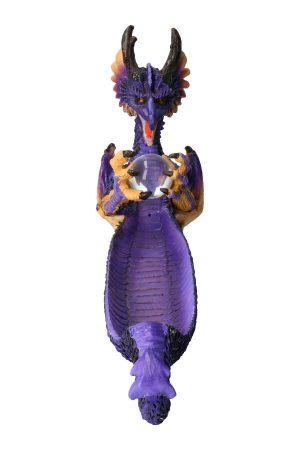 Paarse draak met bol wierookhouder, 35 cm, draken wierookhouder, draak, dragon, incense, kopen, paars,