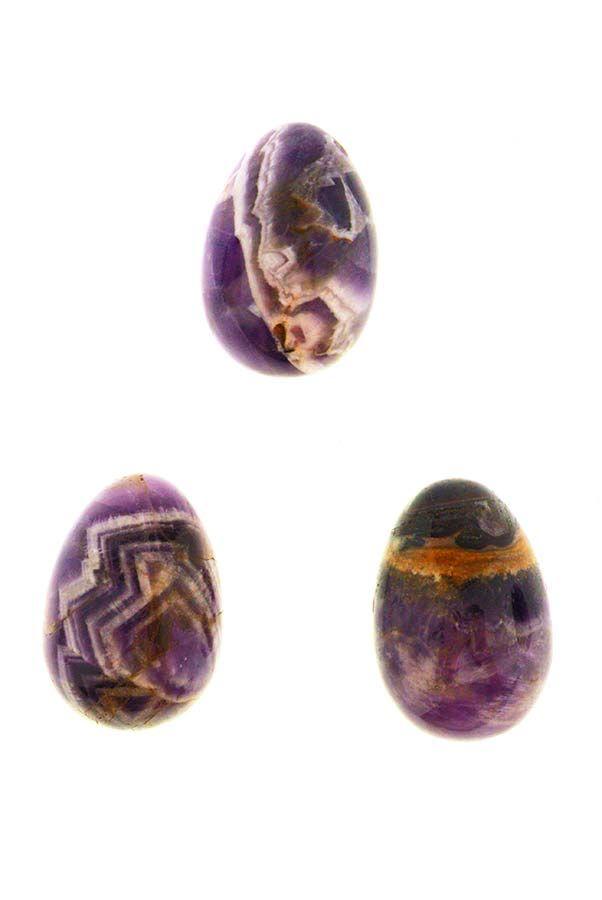 Amethist Yoni Ei Small, 20 mm x 31 mm, met of zonder gaatjes