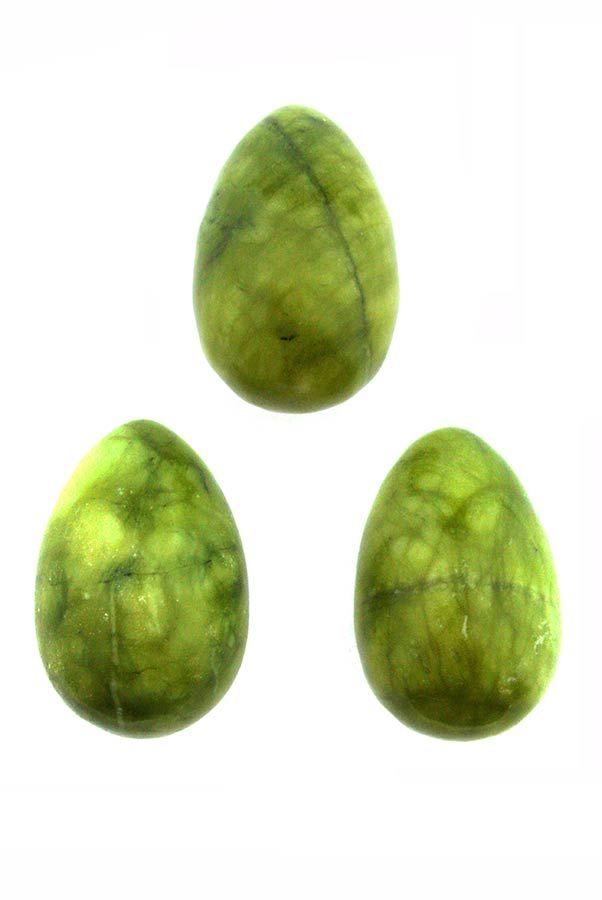 Jade Yoni ei, met of zonder gaatjes, 31 mm x 44 mm