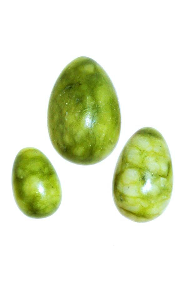 Jade Yoni ei set van 3, Large, Medium en Small, met of zonder gaatjes