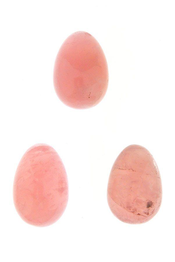 Rozenkwarts Yoni Ei, 31 mm x 41 mm, met of zonder gaatjes