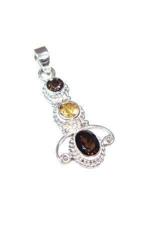 Rookkwarts en Citrien zilveren hanger, Smokey quartz, citrine, kopen, edelsteen sieraad, sieraden, edelstenen, zilveren hanger, zilver edelsteen, pendant,