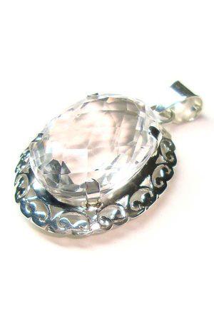 Bergkristal zilveren hanger, kopen, clear quartz, pendant,