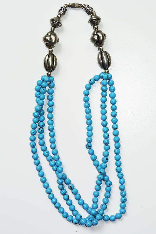 Turqureniet halsketting, 3 lijnen, 50 cm
