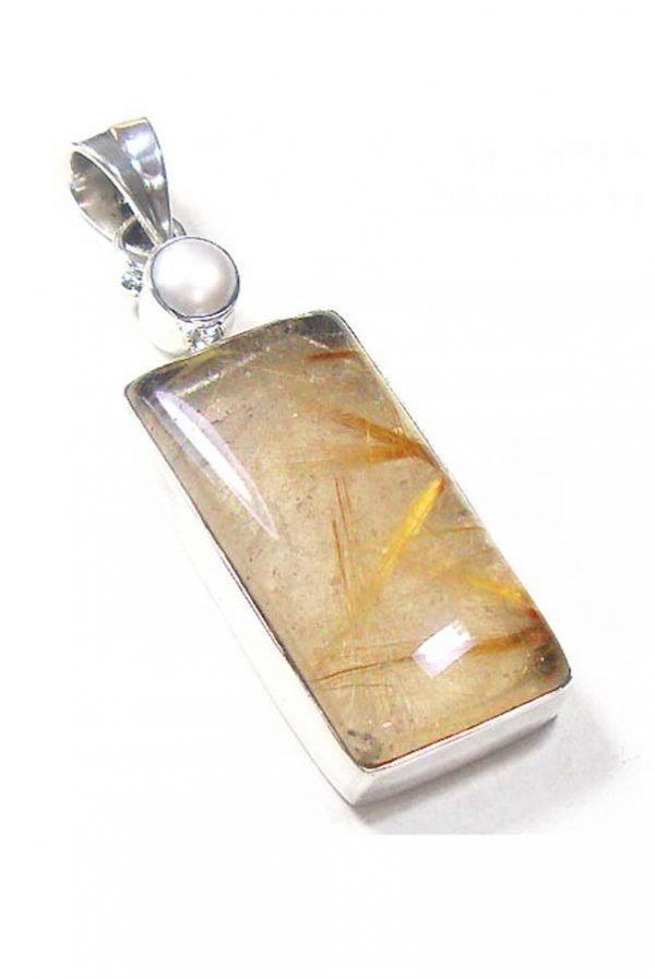 Goud Rutiel hanger met parel zilver (925 sterling), 3 cm, rechthoek