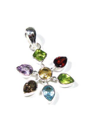 Geluksblaadje, zilver met edelsteen hanger, pendant