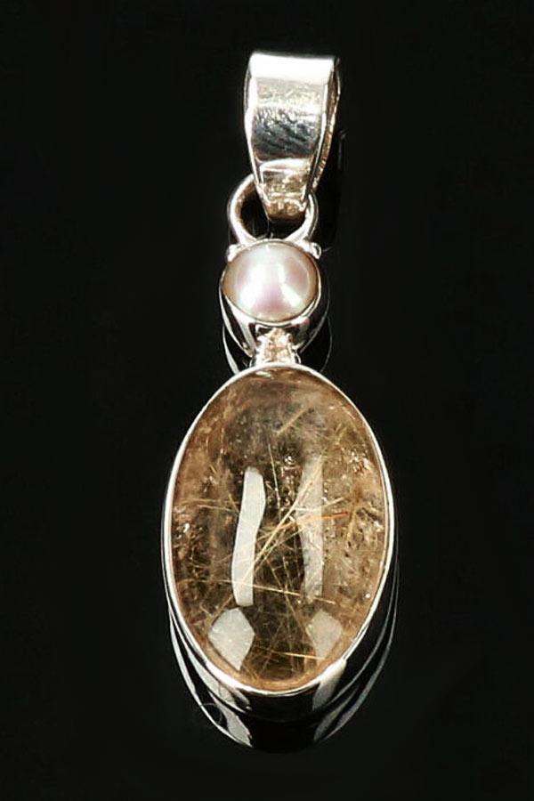 Goud Rutiel hanger met parel zilver (925 sterling), 3 cm, ovaal