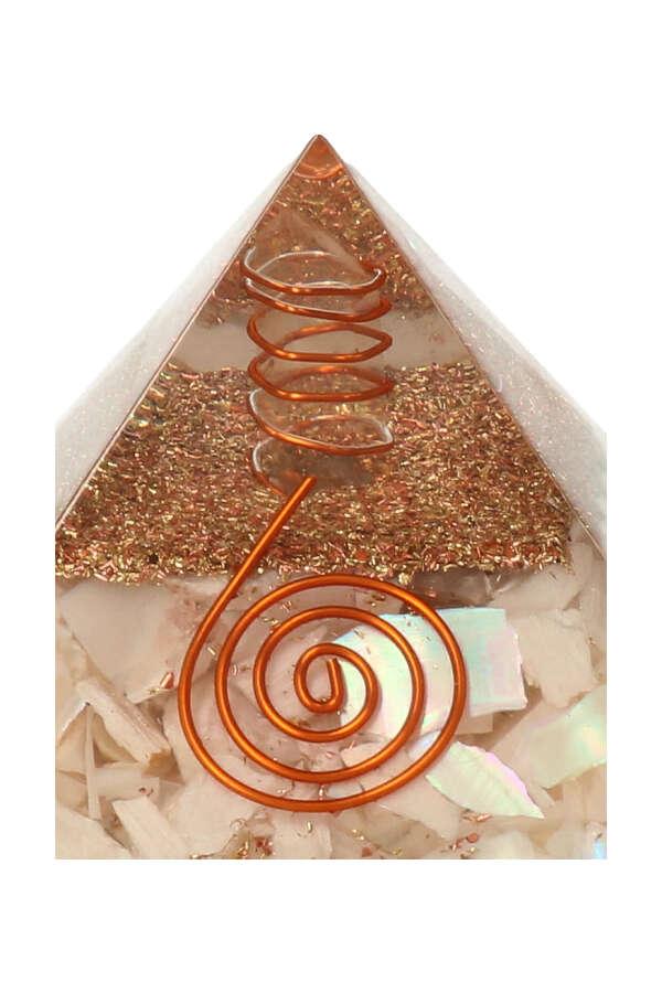 Scoleciet piramide, orgoniet piramide, scoleciet met parelmoer piramide, paarlemoer, edelsteen piramide, kopen