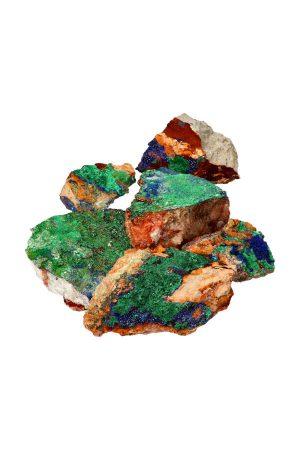 Azuriet met Malachiet brokken, azurite with malachite, kristallen, ruw, mineraal, kopen,