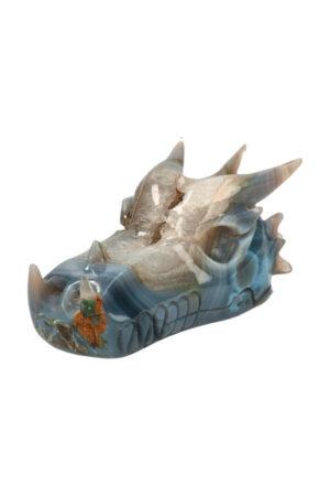 agaat geode bergkristal chloriet kristallen drakenschedel edelsteen carving