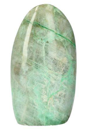 Groene Maansteen sculptuur, groene maansteen gepolijst, vrije vorm, groene garnieriet, grijze maansteen, garnierite moonstone, green, kopen