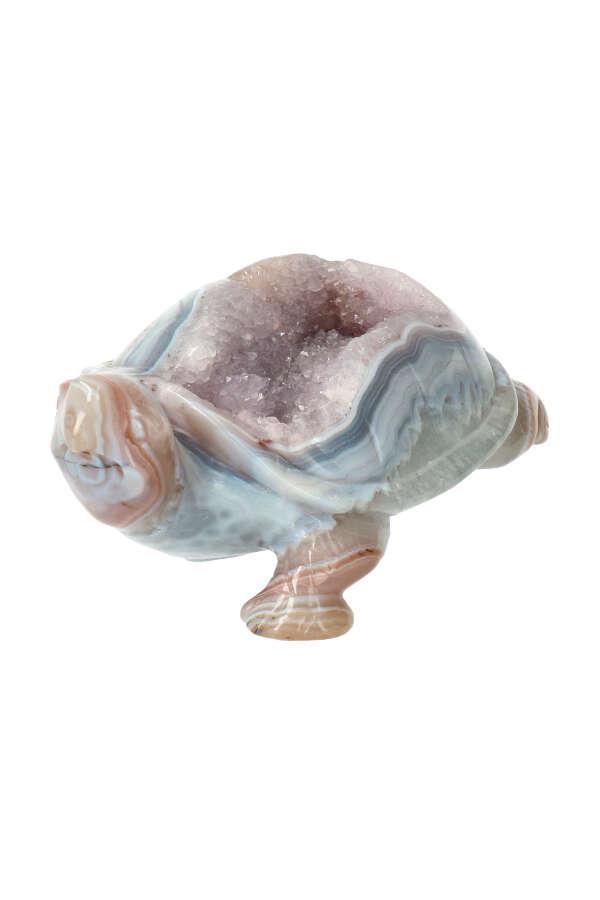 Lichte Amethist geode schildpad edelsteen carving