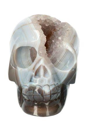 Bergkristal met Chalcedoon geode kristallen schedel, kopen, crystal skull