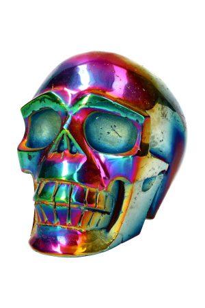 grote Titanium Aura kristallen schedel ook wel titanium regenboog kwarts genoemd