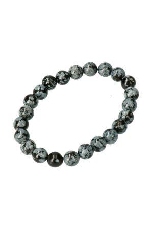 sneeuwvlok obsidiaan armband in 8mm