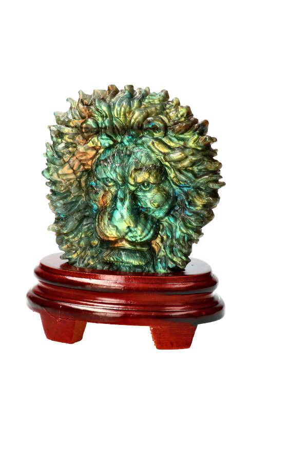 Labradoriet Leeuw, Top Carving! 13 cm, 977 gram