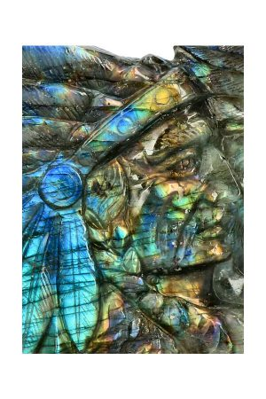 Labradoriet Indiaan en Adelaar, eagle, Labradoriet Indiaan, Top Carving, native american, labradorite, kopen, beeld, indianen hoofd, spectrum