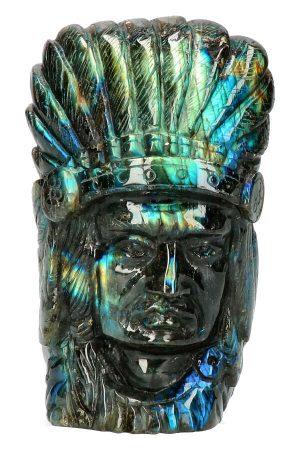 Labradoriet Indiaan, Top Carving, native american, labradorite, kopen, beeld, indianen hoofd, spectrum