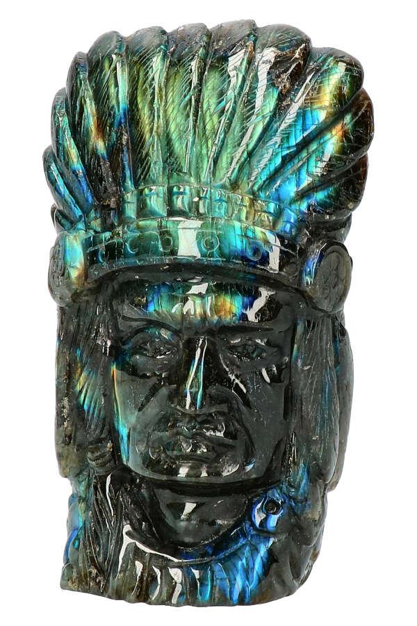 Labradoriet Indiaan, Top Carving! 11.5 cm, 511 gram