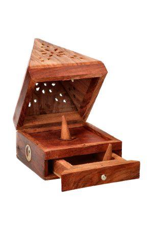 Wierook kegelbrander piramide antiek hout Yin Yang, 13 cm