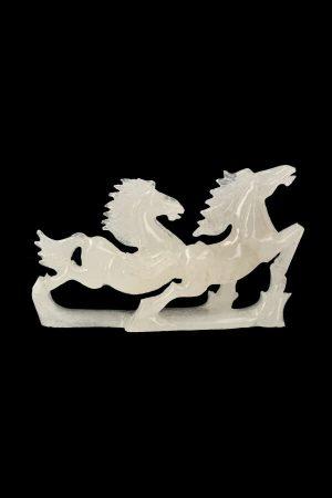 Witte Jade paarden, white jade horses, edelsteen beeld, paard, kopen, kristallen paard