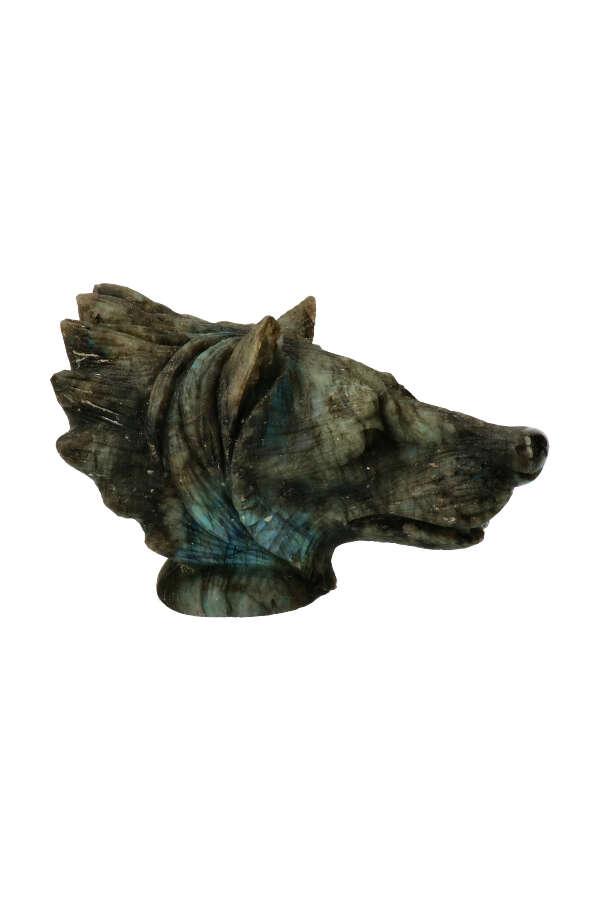 labradoriet wolf, edelsteen wolf, edelsteen wolvenkop, labradorite wolf, labradorite wulf,