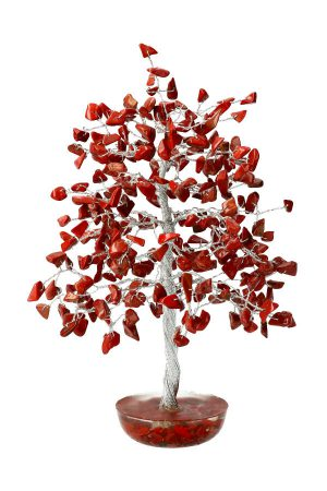 Rode Jaspis edelsteenboom op Orgoniet met Rode Jaspis basis