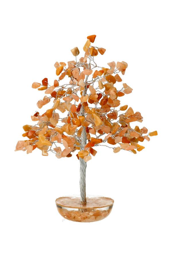Gele Jade edelsteenboom 20 cm op orgoniet basis