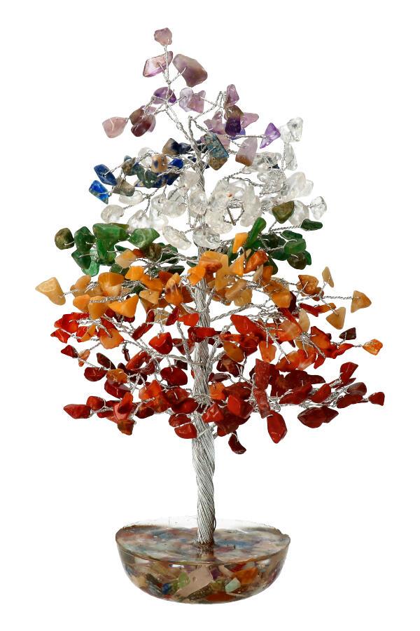 Chakra stenen edelsteenboom met Orgoniet basis