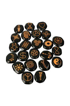 Wicca stenen set 23 delig van Obsidiaan