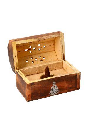 Wierook kegelbrander kistje antiek hout boeddha, 13 cm