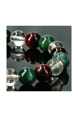 Aardende edelsteen armband, 8 mm kralen, Rode Tijgeroog, Mosagaat en Bergkristal 8 mm edelsteen kralen