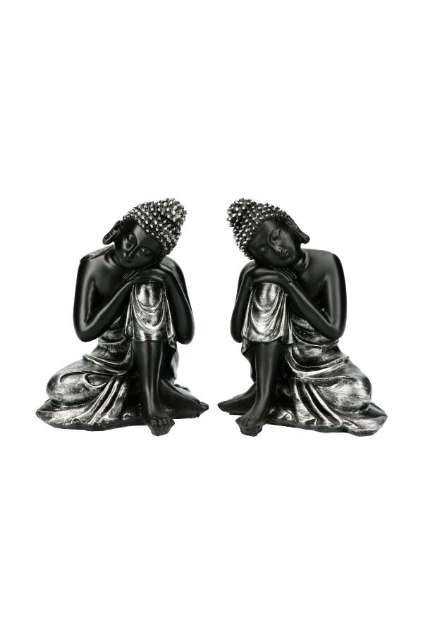 Mediterende boeddha set, 15 cm, polystone