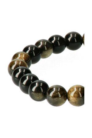 Goud Obsidiaan armband 8 mm edelsteen kralen