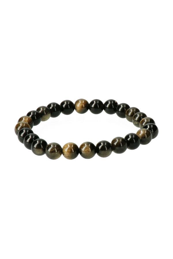 Goud Obsidiaan armband, 8 mm edelsteen kralen, 18 en19 cm