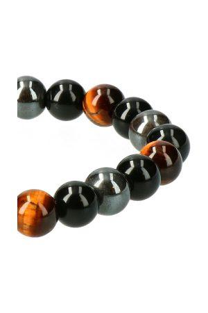Hematiet, Tijgeroog en Obsidiaan trio armband 8 mm edelsteen kralen 19 cm