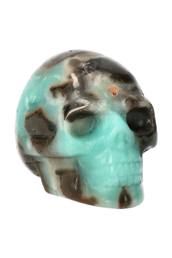 Amazoniet met Toermalijn kristallen schedel, 5 cm