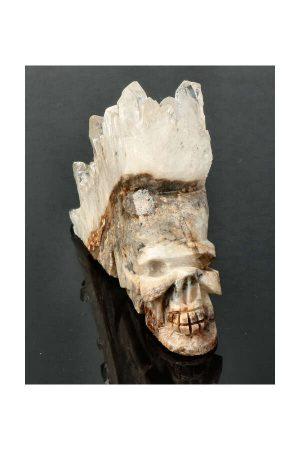 Bergkristal cluster edelsteen kristallen schedel carving crystal skull