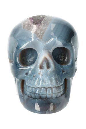 Amethist met Chalcedoon geode kristallen schedel