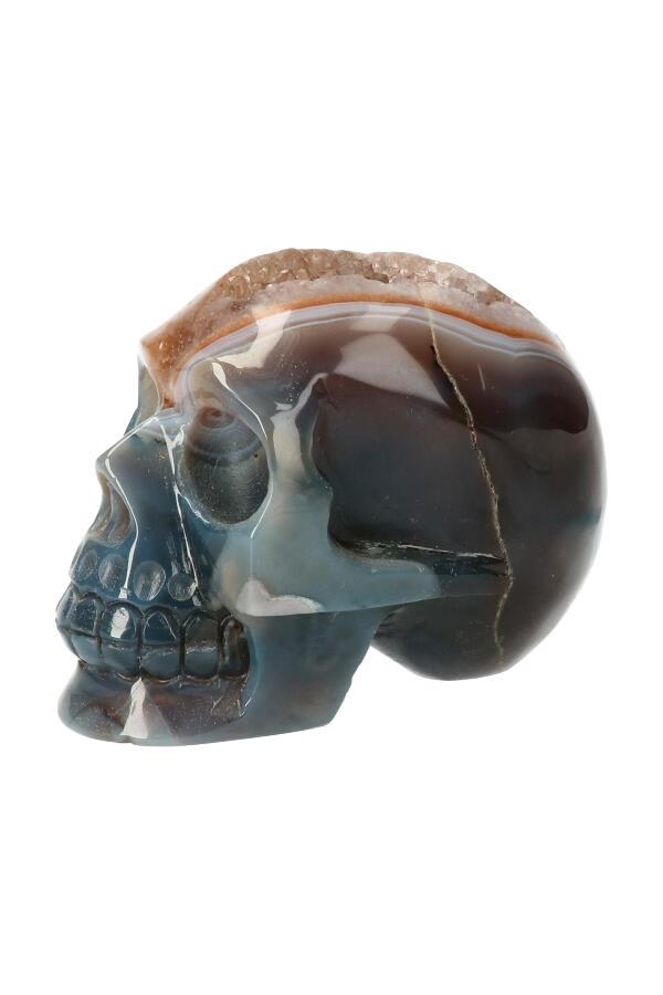 Agaat geode kristallen schedel, 10 cm x 6.5 cm x 7.5 cm, 636 gram