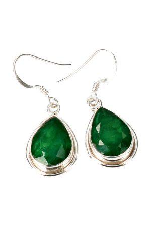Smaragd oorbellen zilver