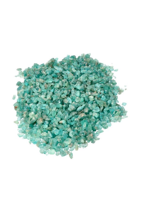 Blauwe Apatiet ruwe chips (kleine steentjes), zak van 100 gram tot 1 kilo, 0.5 tot 1 cm per steentje