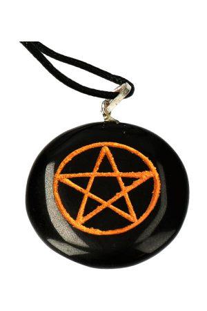 Pentagram Obsidiaan hanger ketting