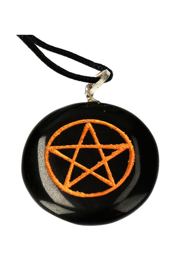 Pentagram Obsidiaan hanger, 3 cm