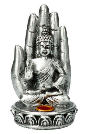 Wierook houder Boeddha hand zilver