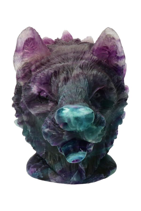 Regenboog Fluoriet wolf carving