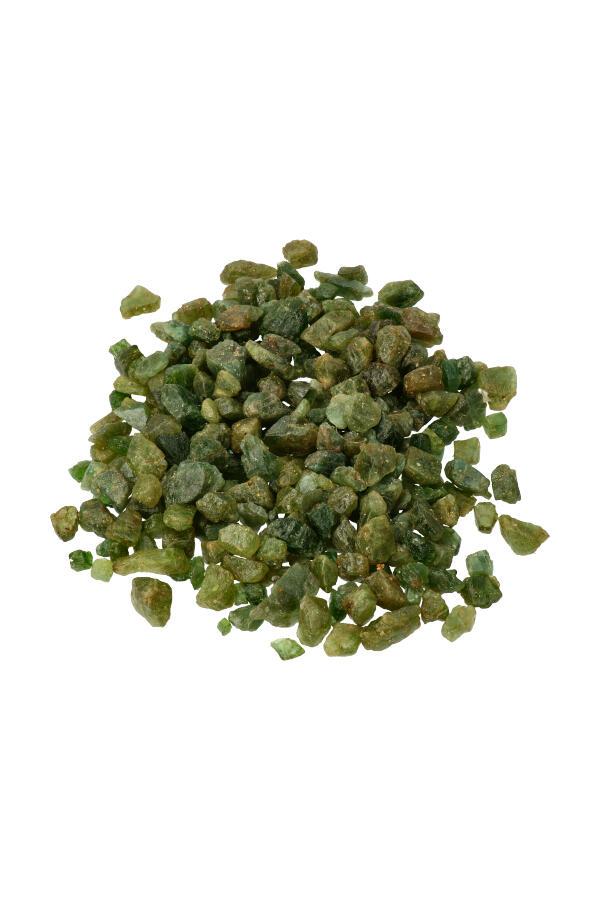 Groene Apatiet (Asparagoliet) ruwe chips (kleine steentjes), zak van 100 gram tot 1 kilo, 0.5 tot 1 cm per steentje